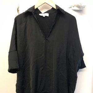 Black collared tunic blouse